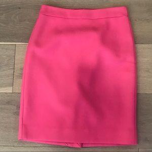 J crew neon pink wool no. 2 pencil skirt 0 petite